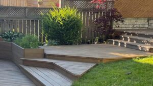 patio with a beautiful grey deck stain