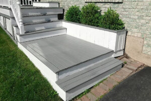 white and grey exterior painting for deck and staircase