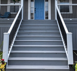 front of house exterior stairs with a grey colour stain